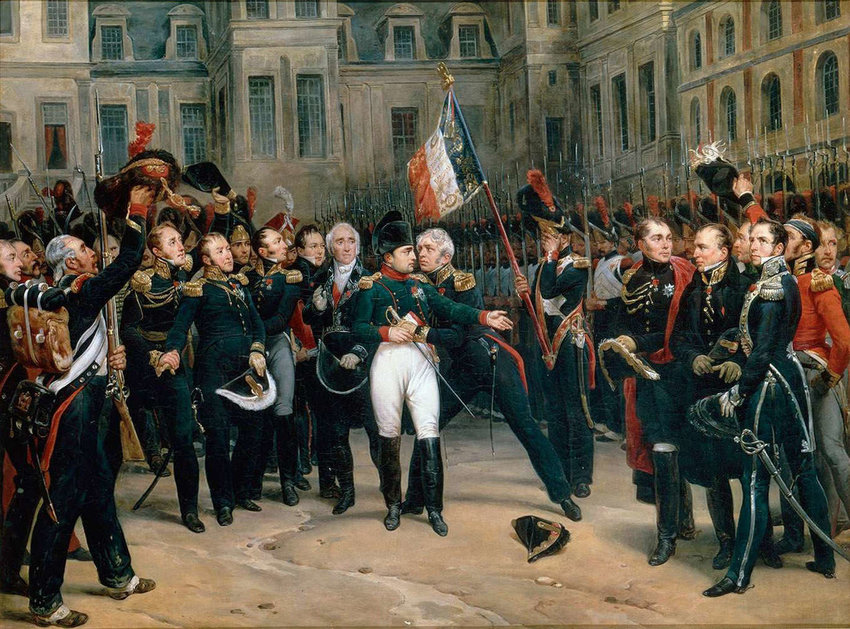 Painting of Napoleon and guards