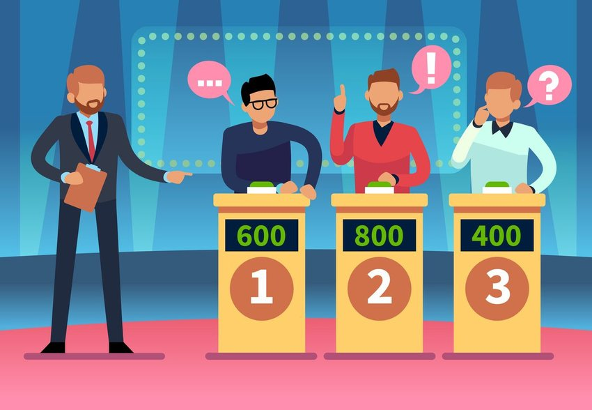 Illustration of game show contestants answering quiz questions
