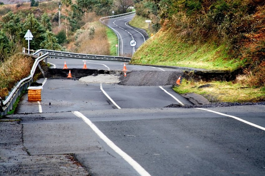 Highway cracked due to earthquake
