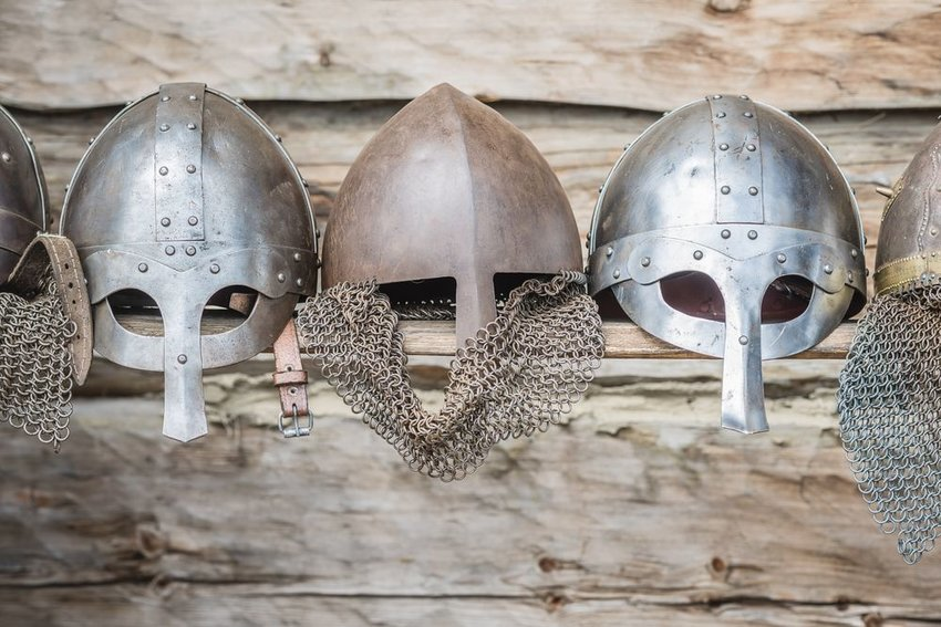 Viking helmets in a row