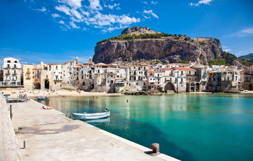 A few boats in port in Sicily, Italy
