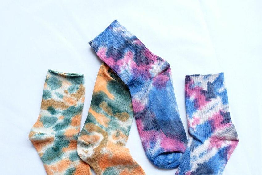 Two pairs of tie-dye socks
