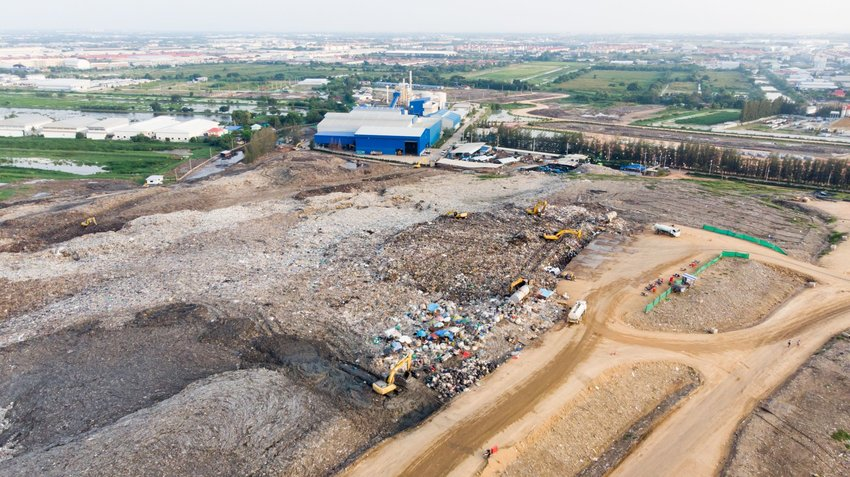 Aerial view of large landfill area being prepared and cleared