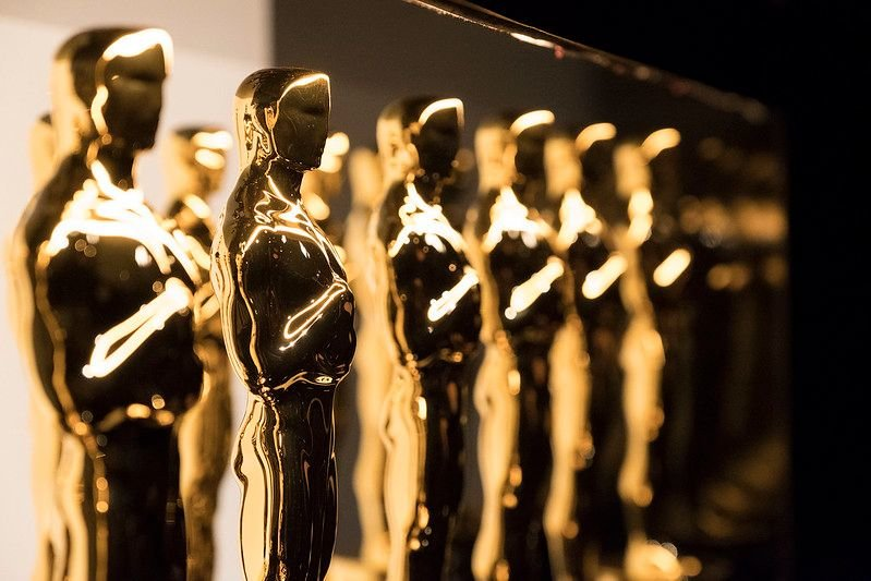 Line of Oscars trophies