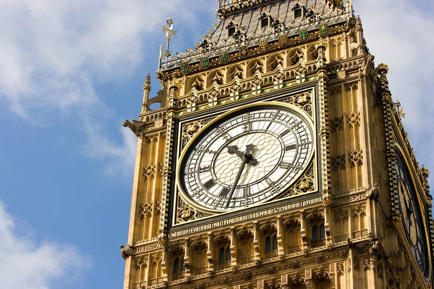 Up close view of Ben Ben clock tower during the day in London, England