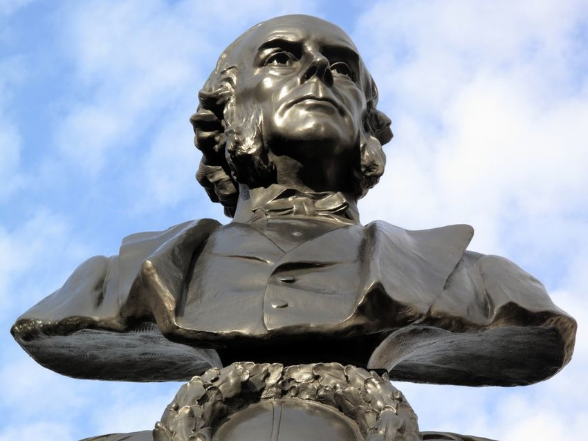 Bust of scientist Joseph Lister on a pedestal, seen in London, England