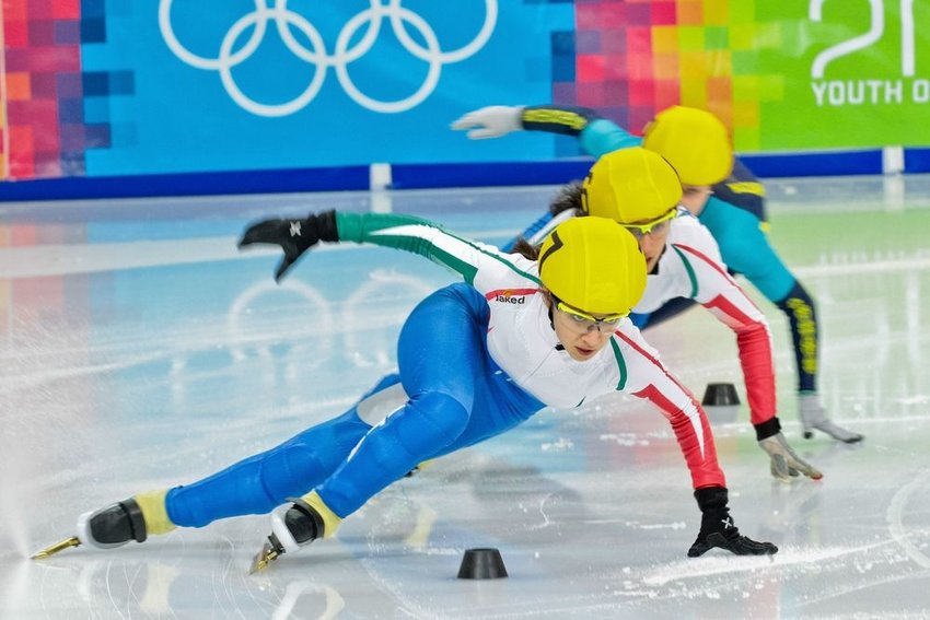 Olympic skaters compete at the 2012 Winter Olympic Games in Innsbruck, Austria