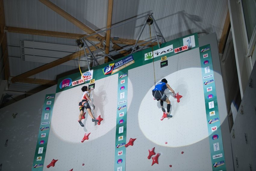Olympic climbers compete in qualifier, scaling large wall in advance of upcoming Tokyo Olympics