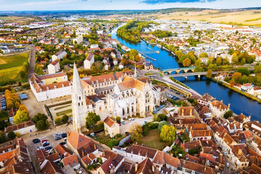 Aerial view of Auxerre, France with view of church and river