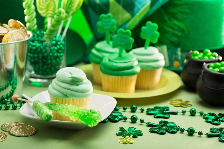 St. Patricks day decorations and treats that are all green