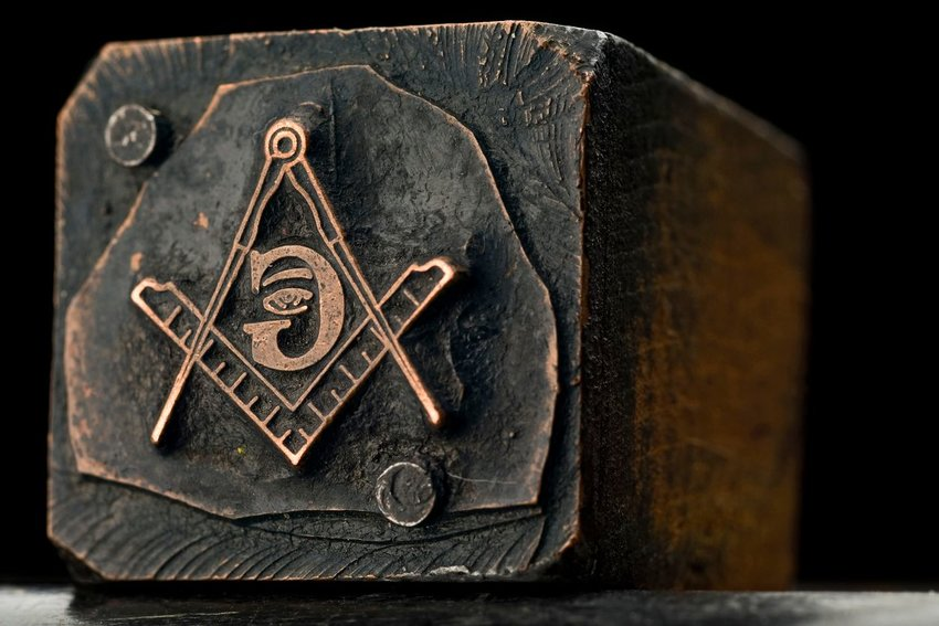 Close up view of Freemason seal