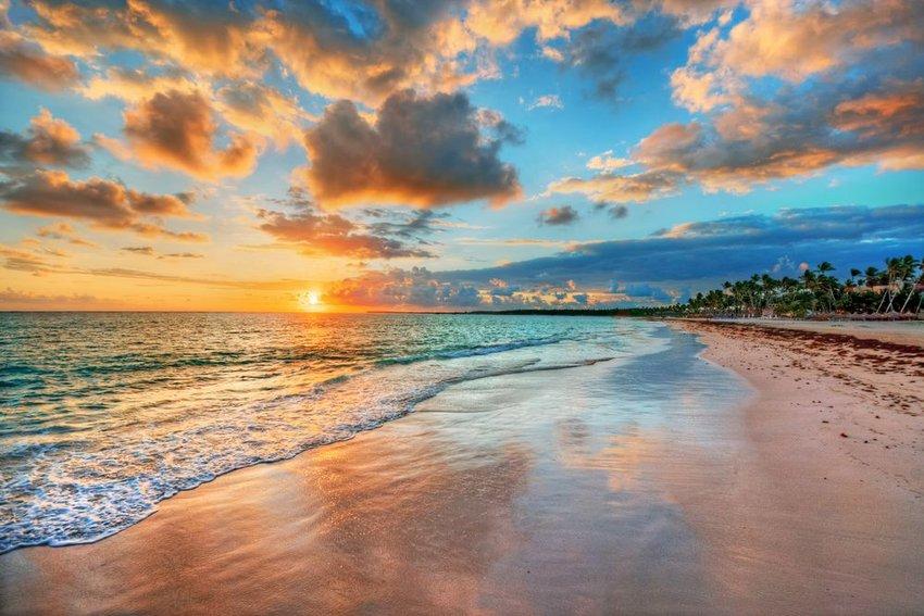 Sunrise off beach in Puerto Rico