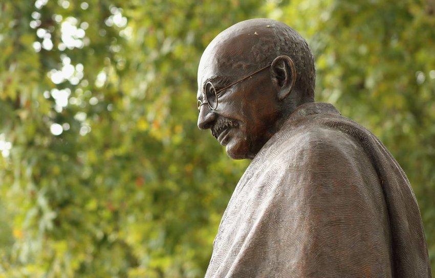 The bronze statue of Mahatma Gandhi in London, Parliament Square