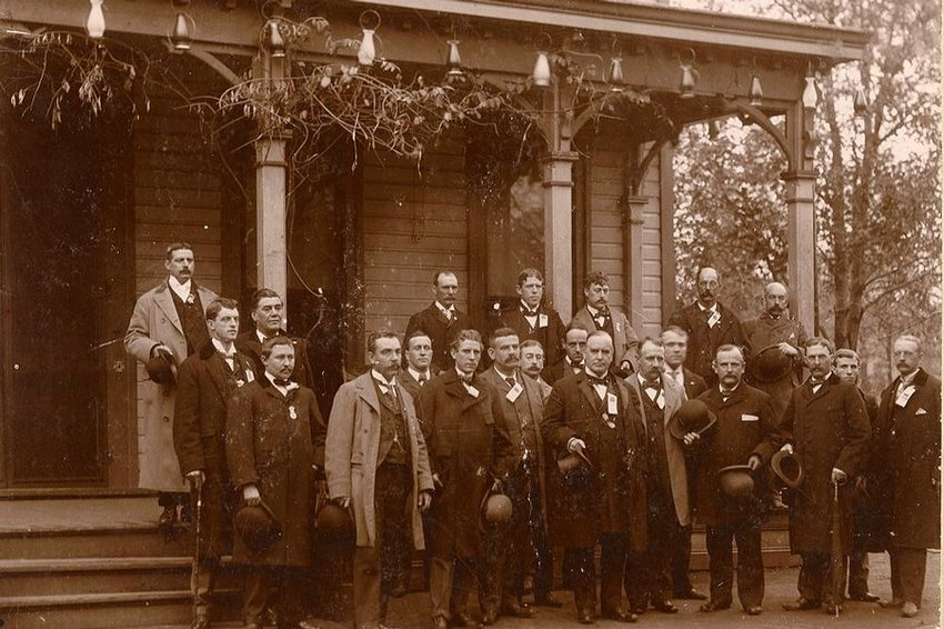 Old photograph of a delegation come to see Republican presidential candidate William McKinley in Canton, OH, October 1896