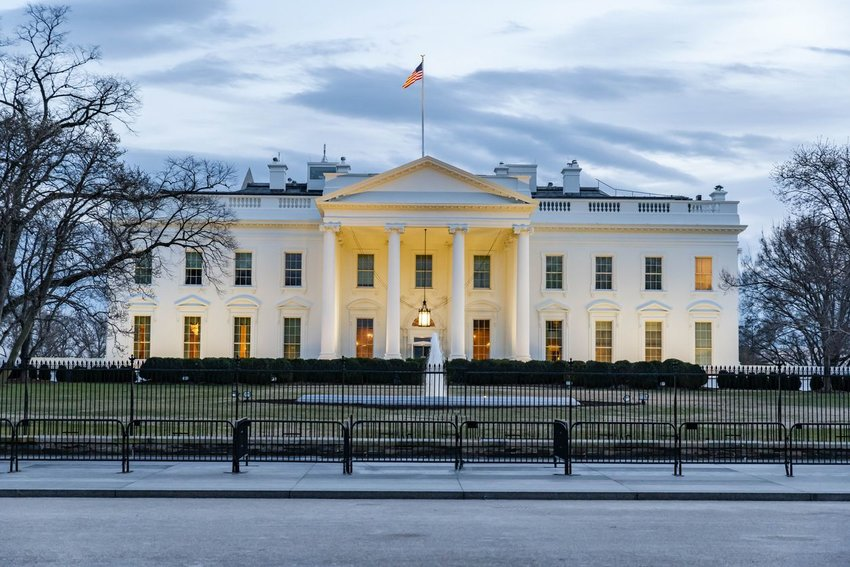 White House at dusk with lights on