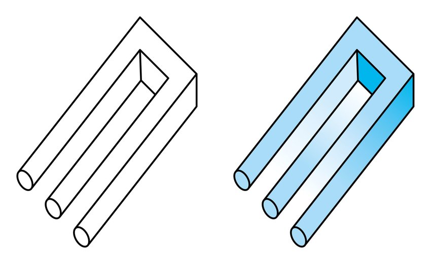 Two illustrations of the impossible trident optical illusion