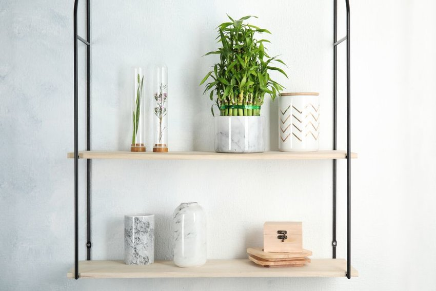 Shelves with vases and pots including one with a lucky bamboo plant