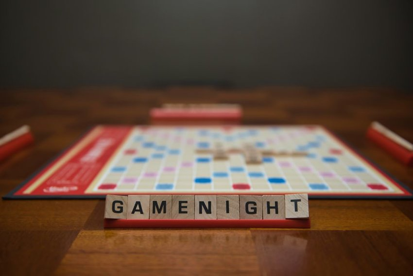 Board game with game night spelled out in game pieces