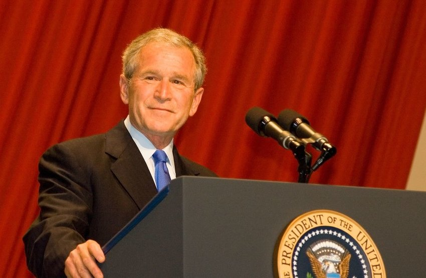 President George W. Bush delivers a speech at his farewell president's dinner