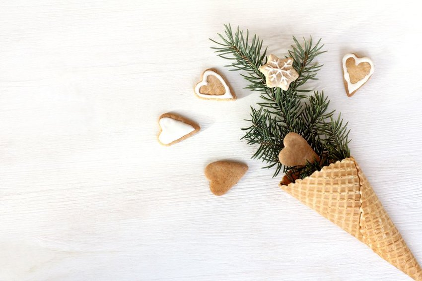 Gingerbread cookies next to an ice cream cone