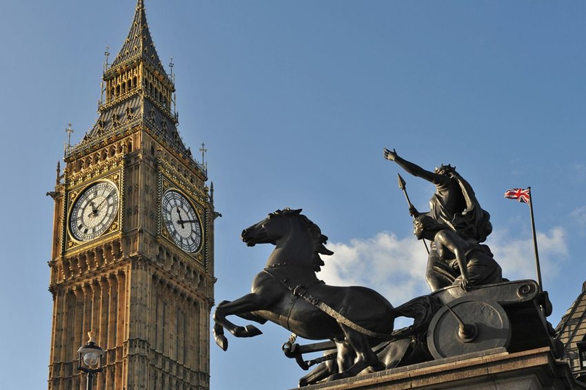 Historic public Statue of Queen Boudicca at the foot of Big Ben in London