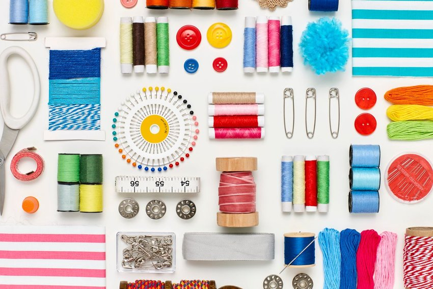 Colorful sewing supplies all laid out