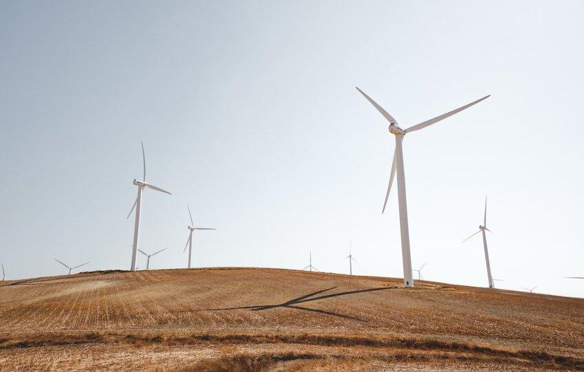 Wind farm on a hill
