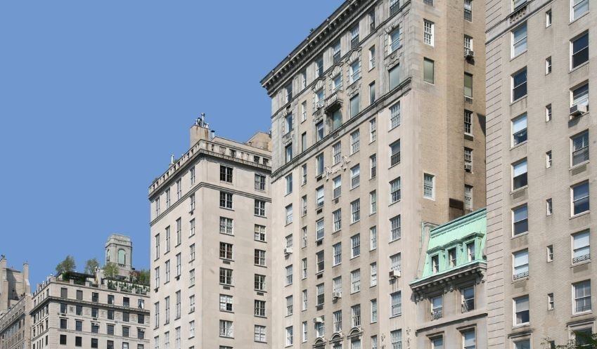 Row of luxury apartment buildings on Manhattan's Fifth Avenue.