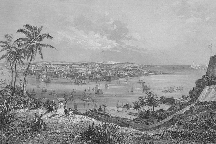Engraved view of the Port and City of Havana, Cuba, circa 1800-1900