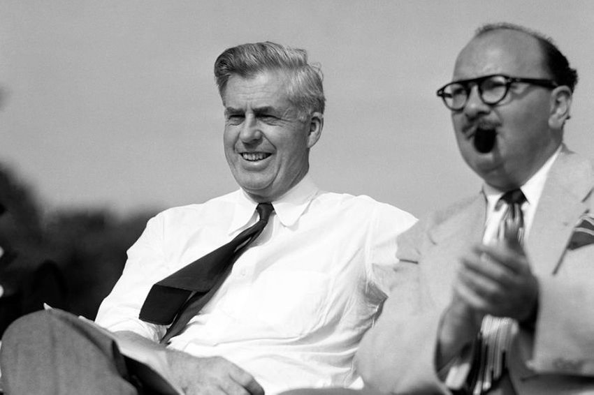 Henry A. Wallace on stage at an event in Philadelphia, Pennsylvania in 1948