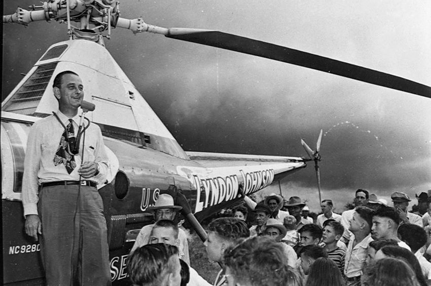 Lyndon Baines Johnson at a stop on a helicopter campaign through his home state of Texas