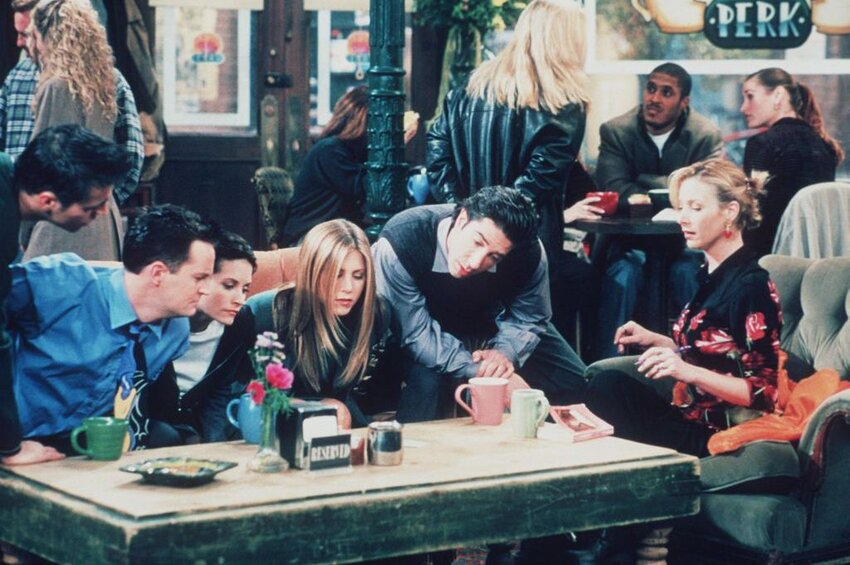Cast of the Friends television sitcom on set at Central Perk