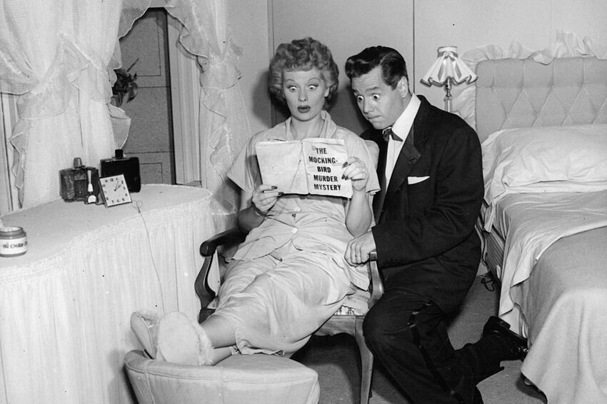 Cast of I Love Lucy on set