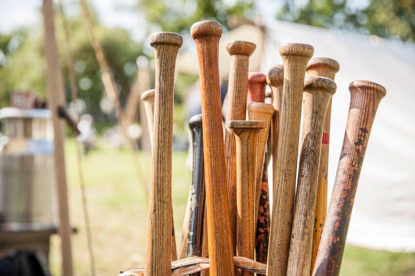 Basket full of baseball bats