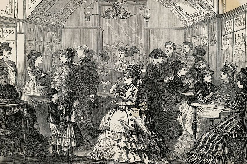 An illustration of an ice cream parlor filled with people, circa 1800s.